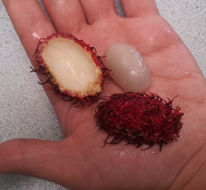 Rambutan. You eat the small white part.