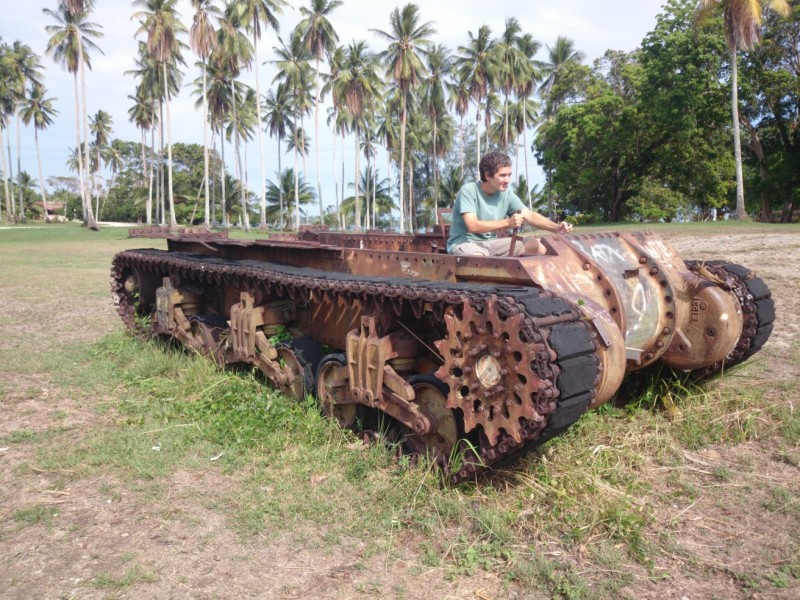 Driving a ruined American M4 Sherman tank